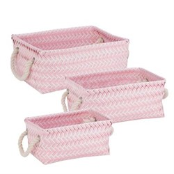Zig Zag Basket Set of 3 Pink