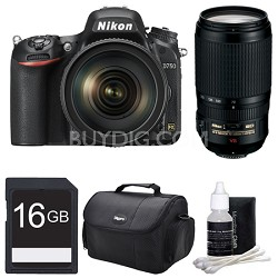 D750 DSLR 24.3MP Digital Camera w/ 24-120mm and 70-300mm ED VR Lens Bundle