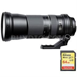 SP 150-600mm F/5-6.3 Di VC USD Zoom Lens f/Nikon (AFA011N700) w/64GB Memory Card