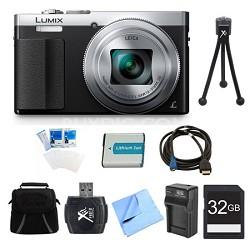 LUMIX ZS50 30X Travel Zoom Silver Digital Camera 32GB Bundle