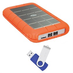 Rugged Hard Disk Triple 1 TB USB 3.0 External Hard Drive with Flash Transfer Kit