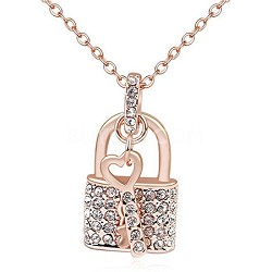 Swarovski Element 18k Gold Plated, Crystal Lock and Key Necklace