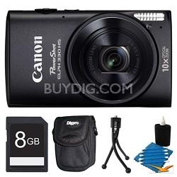 Powershot ELPH 330 HS Black Digital Camera 8GB Bundle
