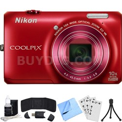 COOLPIX S6300 16MP Digital Camera with 10x Optical Zoom (Red) Refurbished Bundle