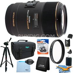 105mm F2.8 EX DG OS HSM Macro Lens for Nikon DSLR (258-205) Lens Kit Bundle