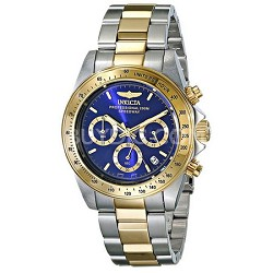 Men's Speedway Collection 18k Gold Plating Stainless Steel Gold, Blue Dial 3644