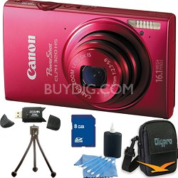 PowerShot ELPH 320 HS 16MP Red Digital Camera 8GB Bundle