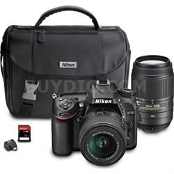 D7100 DX-format Black Digital SLR Camera 18-55mm + 55-300mm Dual VR Lens Bundle