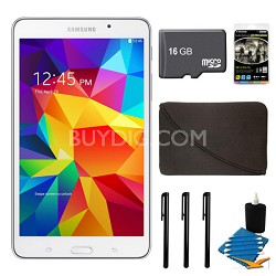 "Galaxy Tab 4 White 8GB 7"" Tablet, 16GB Card, and Case Bundle"