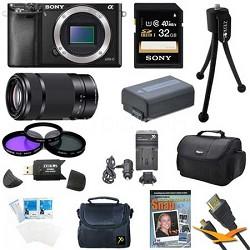 Alpha a6000 24.3MP Interchangeable Lens Camera Body and SEL55210 Lens Bundle