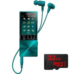 32GB Hi-Res Walkman Digital Music Player - Blue w/ Sony 32GB Memory Card