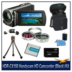 HDR-CX150 Handycam HD Camcorder (Black) with 16 GB Card, Spare Batt, Case & More