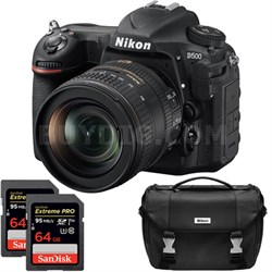D500 20.9MP DX Format DSLR Camera w/ 16-80mm VR Lens Dual Pro Memory Card Bundle