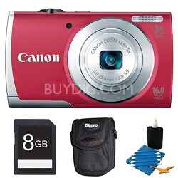 PowerShot A2600 Red 16MP Digital Camera 8GB Bundle