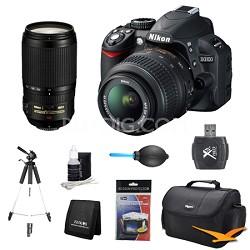 D3100 14MP DX-format Digital SLR w/ 18-55mm and 70-300mm AF-S VR Lens Kit