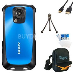 MHS-TS22 Bloggie Sport HD Camera (Blue) Bundle