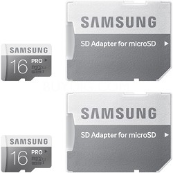 PRO 16GB MicroSDHC with Adapter Up to 90MB/s Class 10 Memory Card - 2-Pack