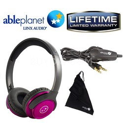 SH190 Travelers Choice Stereo Headphones w/ LINX AUDIO & Inline Volume - Pink