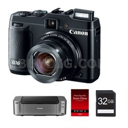 PowerShot G16 Digital Camera + Pro 100 Printer / 50-Pack Paper & 32GB Card