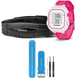 Forerunner 25 GPS Fitness Watch w/ Heart Rate Monitor Small Pink - Blue Bundle