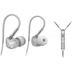 M6P Sports In-Ear Headphones with Universal Inline Mic, Remote, & Volume (Clear)