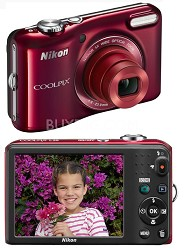 COOLPIX L28 20.1 MP Digital Camera with 5x Zoom Lens (Red) Factory Refurbished
