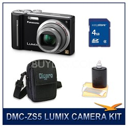 DMC-ZS5K LUMIX 12.1 MP Digital Camera (Black), 4GB SD Card, and Camera Case