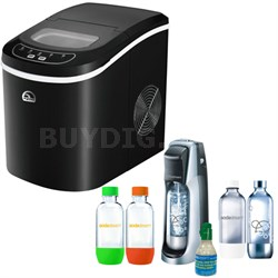 Compact Ice Maker Black w/ Exclusive SodaStream Fountain Jet Soda Maker Bundle