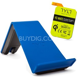 VU Wireless Charger QI Smartphone Bundle w Galaxy S5 Receiver Card - Blue
