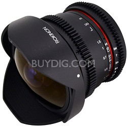 HD 8mm T3.8 Ultra Wide Fisheye Cine Lens w/ Removable Hood f/ Nikon Mount