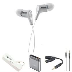R6 In-Ear Headphone (White) with Headphone Bundle