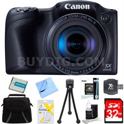 Powershot SX410 IS Black Digital Camera and 32GB Card Bundle
