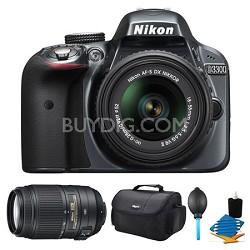 D3300 DSLR HD Grey Camera, 18-55mm Lens, 55-300mm Lens and Case Bundle