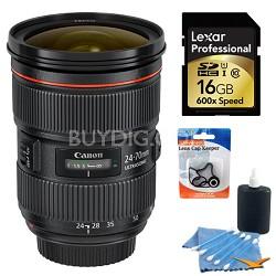 Canon EF 24-70mm f/2.8L II USM Lens Bundle w/ 16GB Card & more
