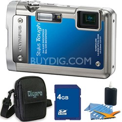 Stylus Tough 8010 Waterproof Shockproof Blue Digital Camera 4GB Memory Bundle