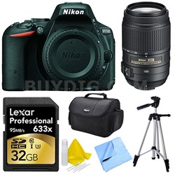 D5500 Black Digital SLR Camera, 55-300 Lens, 32GB, and Cleaner Bundle