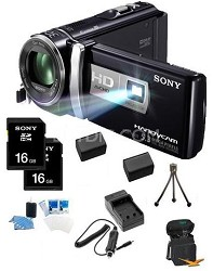 HDR-PJ200/B 5.3 MP Stills 25x Optical HD Projector and Camcorder (Black) Bundle
