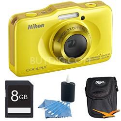 COOLPIX S31 10.1MP 720p HD Video Waterproof Digital Camera - Yellow Plus 8GB Kit