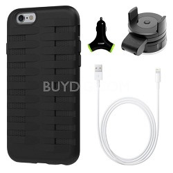 Cobra Apple iPhone 6 Silicone Dual Protective Case - Black Accessory Bundle