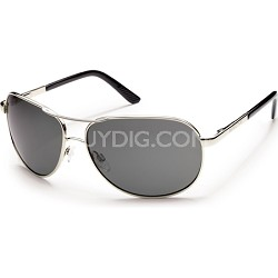 Aviator Sunglasses Silver Frame/Gray Polarized Lens