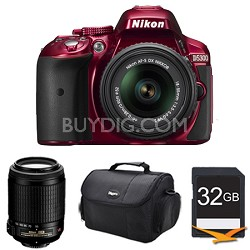 D5300 DX-Format Digital SLR Kit (Red) w/ 18-55mm DX & 55-200mm VR Lens Bundle