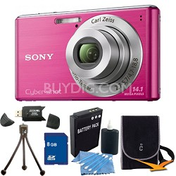 Cyber-shot DSC-W530 Pink Digital Camera 8GB Bundle