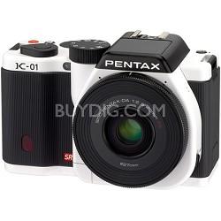 K-01 Digital SLR White 16 MP Camera w/ DA 18-55mm and 50-200mm Lens Bundle