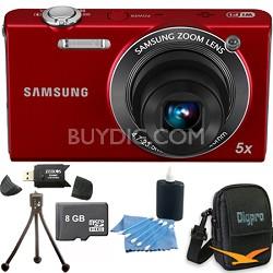 SH100 Red Digital Camera 8 GB Bundle