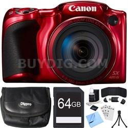 PowerShot SX420 IS 20MP Red Digital Camera + 42x Optical Zoom 64GB Card Bundle