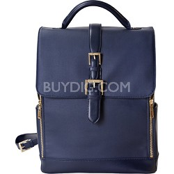 "Isaac Mizrahi ""KATHRYN"" Full Size Coated Canvas Camera Backpack - Blue"