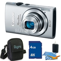 PowerShot ELPH 310 HS 12MP Silver Digital Camera 4GB Bundle