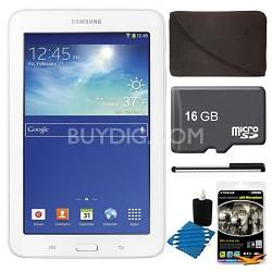 "Galaxy Tab 3 Lite 7.0"" White 8GB Tablet, 16GB Card, Headphones, and Case Bundle"
