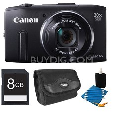 PowerShot SX280 HS 12.1MP WiFi Digital Camera w/ 20X Zoom 1080P Video - 8GB Kit