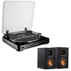 AT-LP60 Automatic Stereo Black Turntable System w/Monitor Speaker